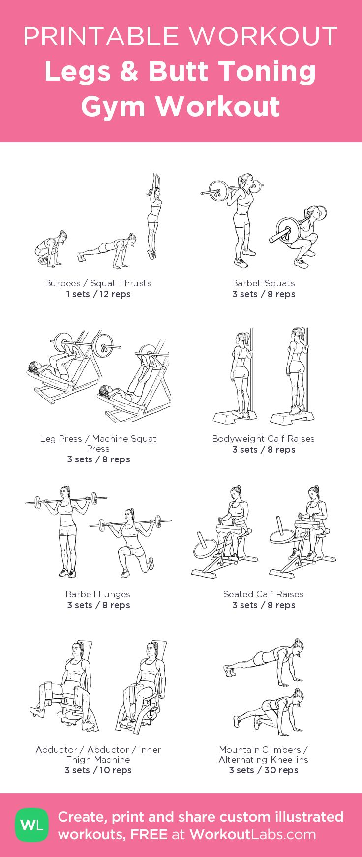 Beginner Gym Workout Routine Female Printable | sport1stfuture org