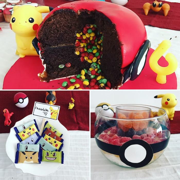 decoration gateau pokemon, surprise pinata, anniversaire pokémon, jelly beans, pokéball, figurine pikachu