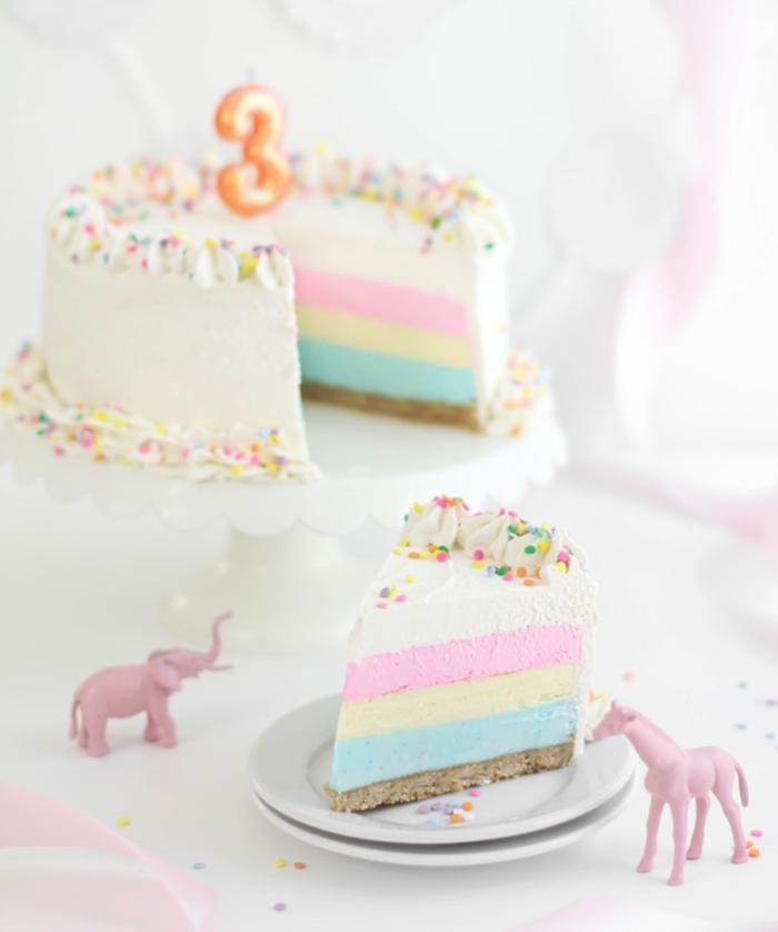 recette originale de gâteau anniversaire façon cheesecake arc-en-ciel