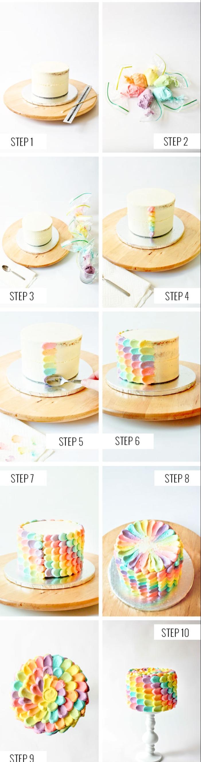 comment réaliser une décoration de gâteau arc-en-ciel en pétales colorées