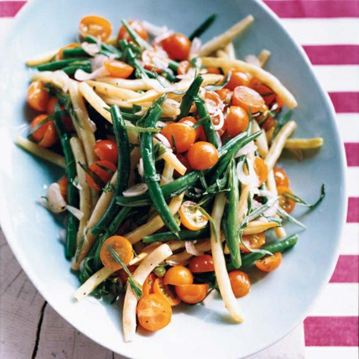 recette pique nique, salade aux trois types d haricots et tomates cerise, idée de salade picnic facile à faire soi meme