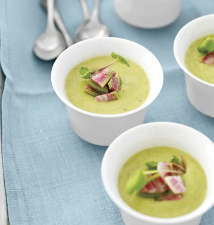 idee pour pique nique recette de soupe aux avocats, oignons verts, bouillon de poulet, idée re repas frois à emporter à un picnic en plein air