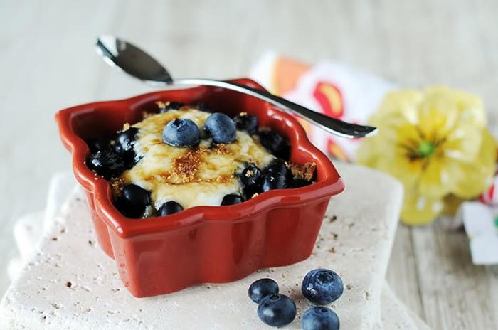 recette dietetique, bol rouge, cuillère à dessert, fleur jaune artificielle, myrtilles, table en bois