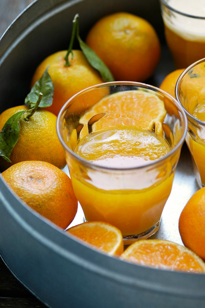 recette minceur, clémentines, verre, gelée orange, recette dietetique, jus de clémentine