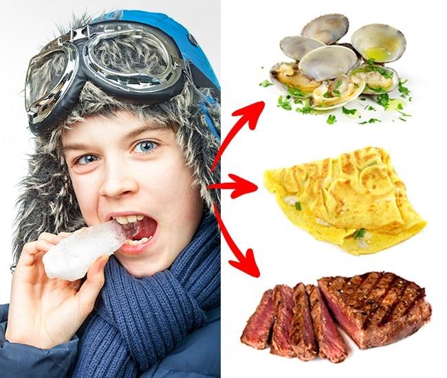 Parfois, l'envie de manger des glaçons est un signe que tu souffres d'anémie et que ton organisme ressent un manque de fer. Les meilleures sources de fer sont la viande de bœuf, les œufs et les fruits de mer. Cependant, il faut consulter un médecin si tu ressens souvent l'envie de glace et que tu manques d'énergie.