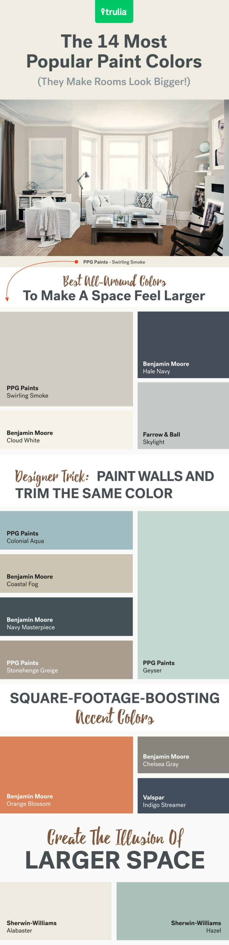 Best Decor Hacks : Virtually expand your square footage with these popular hues. There are some har…