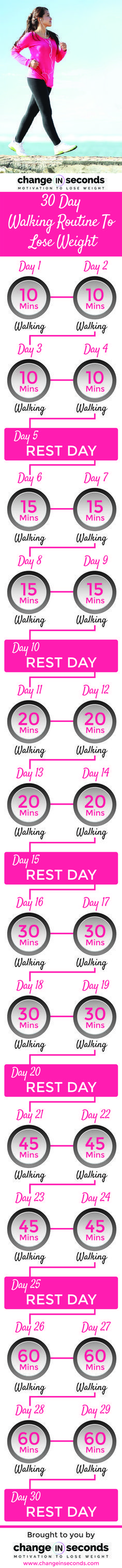 Fitness Motivation : 30 Day Walking Routine To Lose Weight www.changeinsecon…