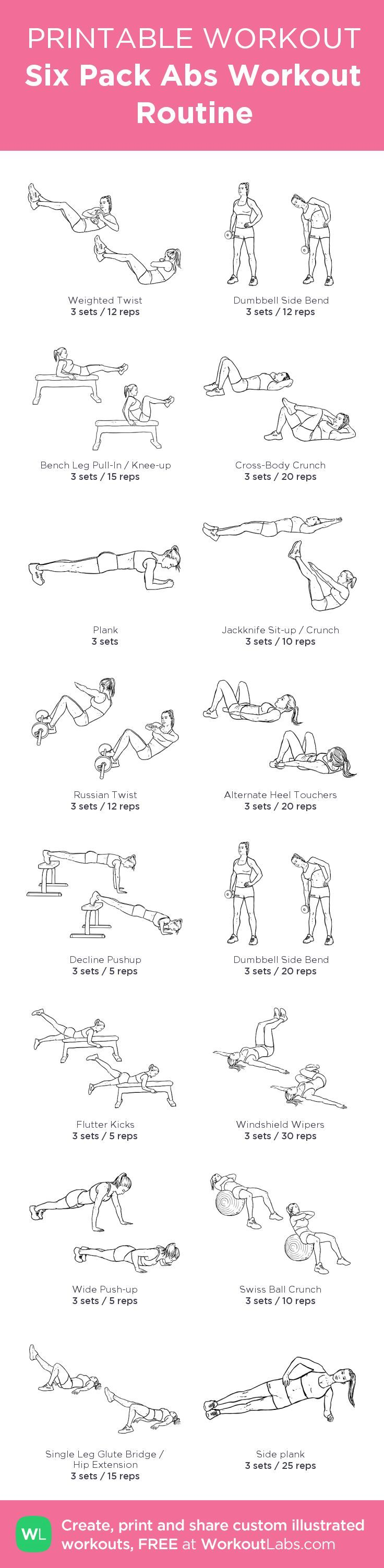 graphic relating to Printable Workout Routine identify Health and fitness Commitment : 6 Pack Abdominal muscles Exercise Agenda: my customized