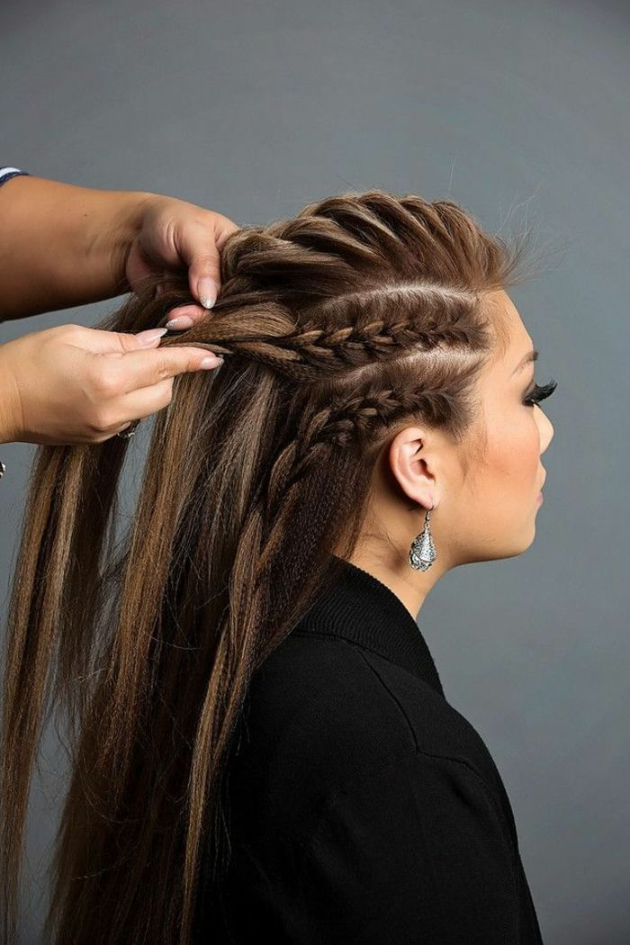 Id e tendance coupe coiffure femme 2017 2018 tresse viking cheveux longs coloration brune - Meches blondes 2017 ...