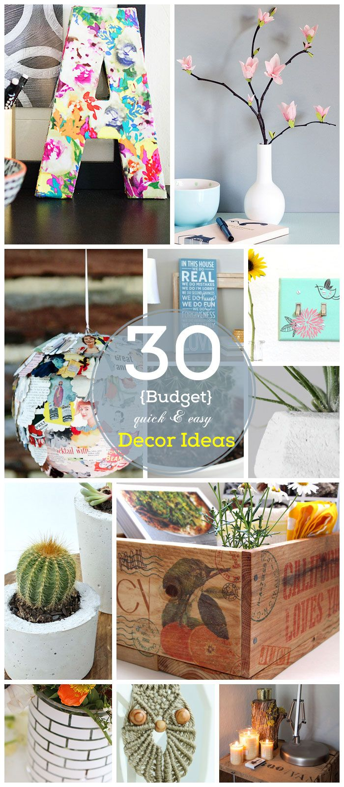 30 diy home decor ideas on a budget for Home interior design ideas on a budget