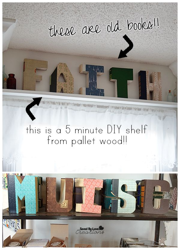 Best decor hacks 5 minute diy shelf from pallet wood for Decoration 5 letters