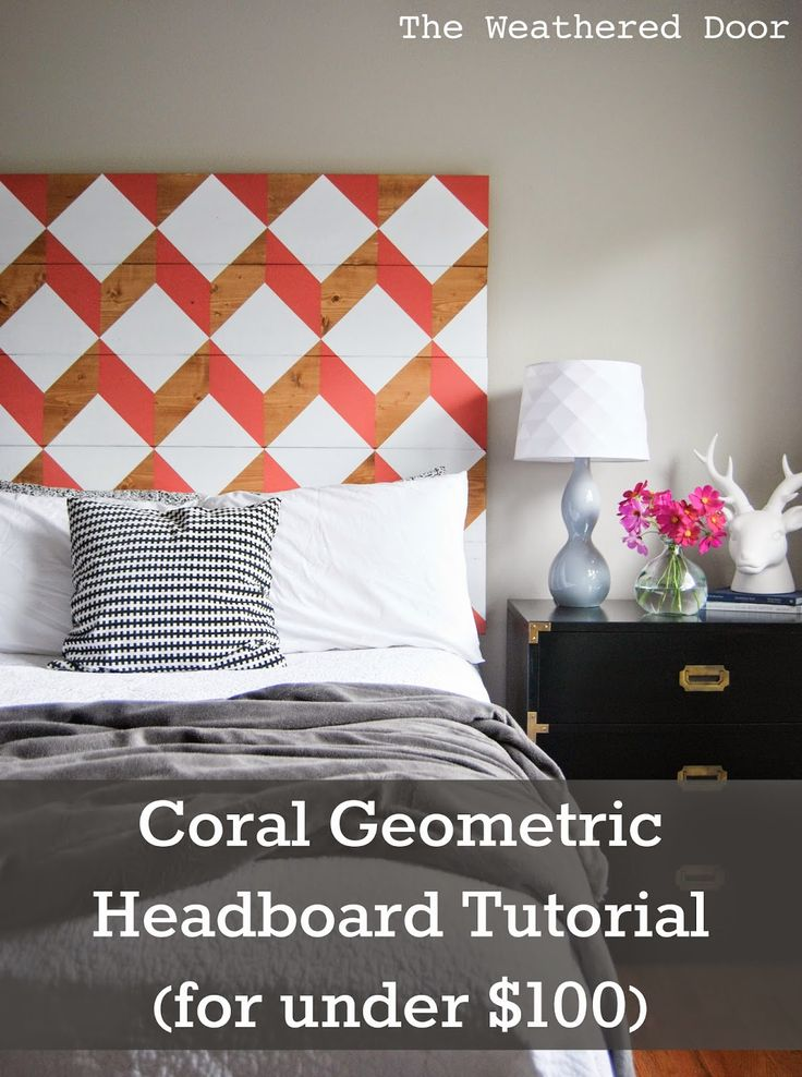 Best Decor Hacks The Weathered Door Diy Geometric Planked Wood Headboard Tutorial For Under