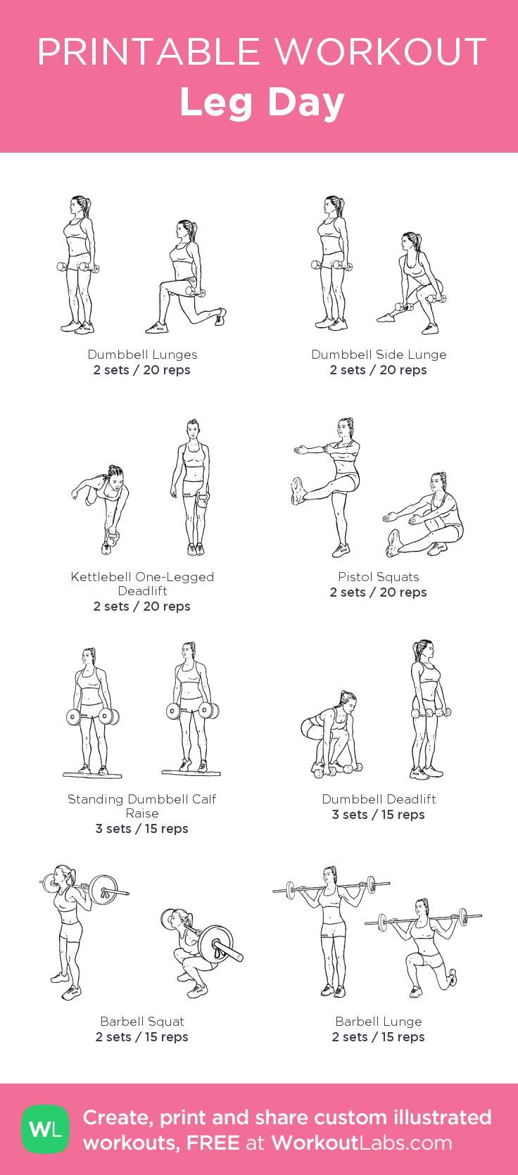 Fitness Motivation : Leg Day:my custom printable workout by ...