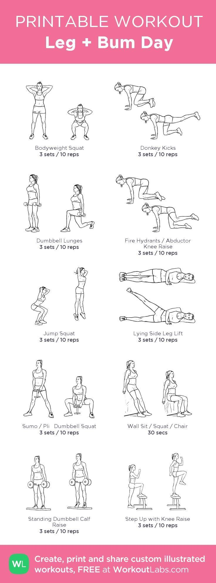 image relating to Printable Arm Workouts referred to as Exercise Determination : great Leg Bum Working day Exercise #fitspiration