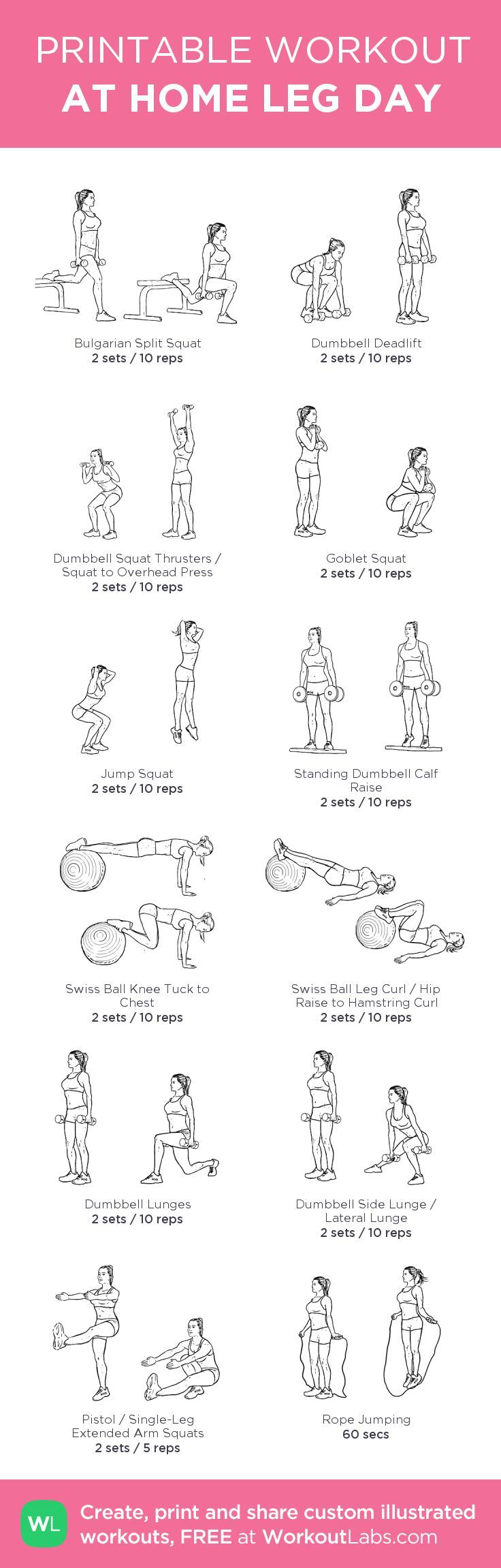 Fitness Motivation : 12 At Home Leg Day Workout for Women