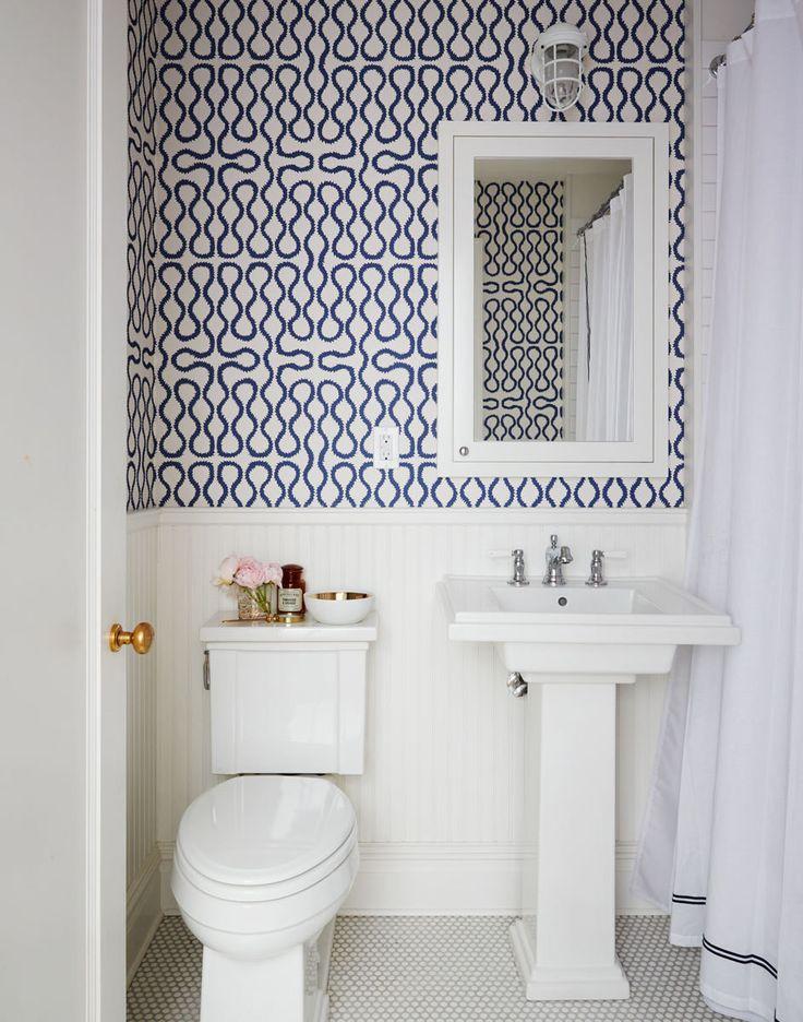Bathroom Decor Ideas : Pattern bursts forth in a powder room covered on bathroom shower wall tile installation, bathroom floor tile design ideas, bathroom vanity tile design ideas,