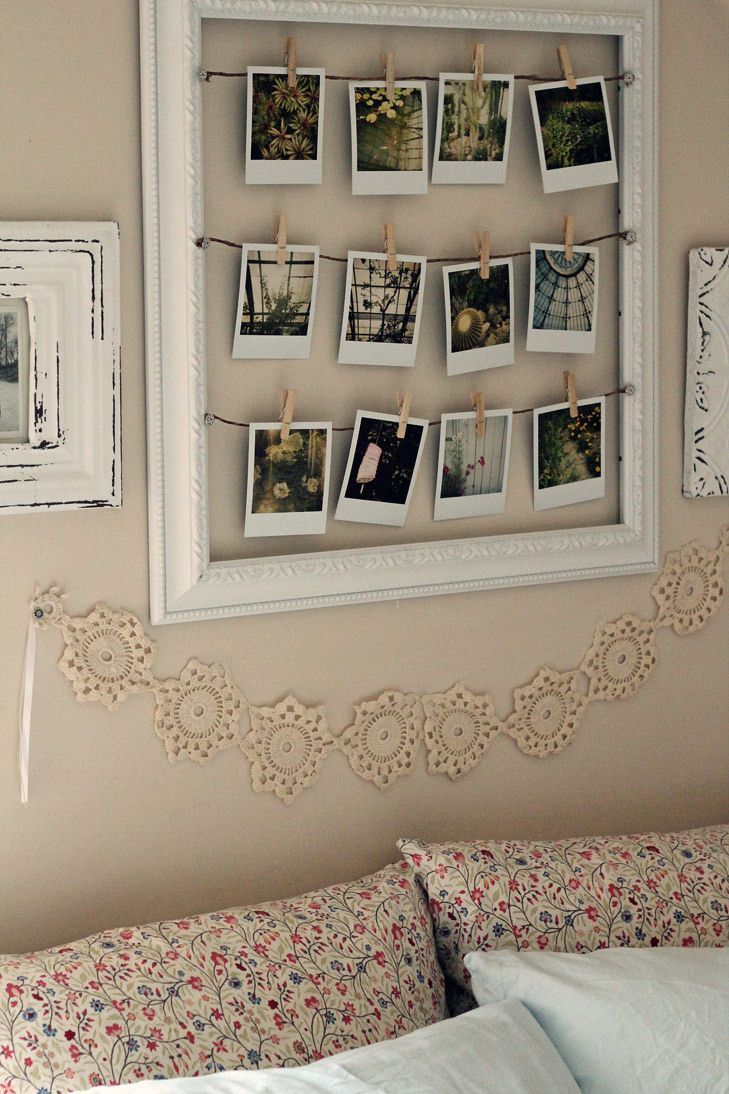 home decor inspiration polaroid pictures inside a wooden frame