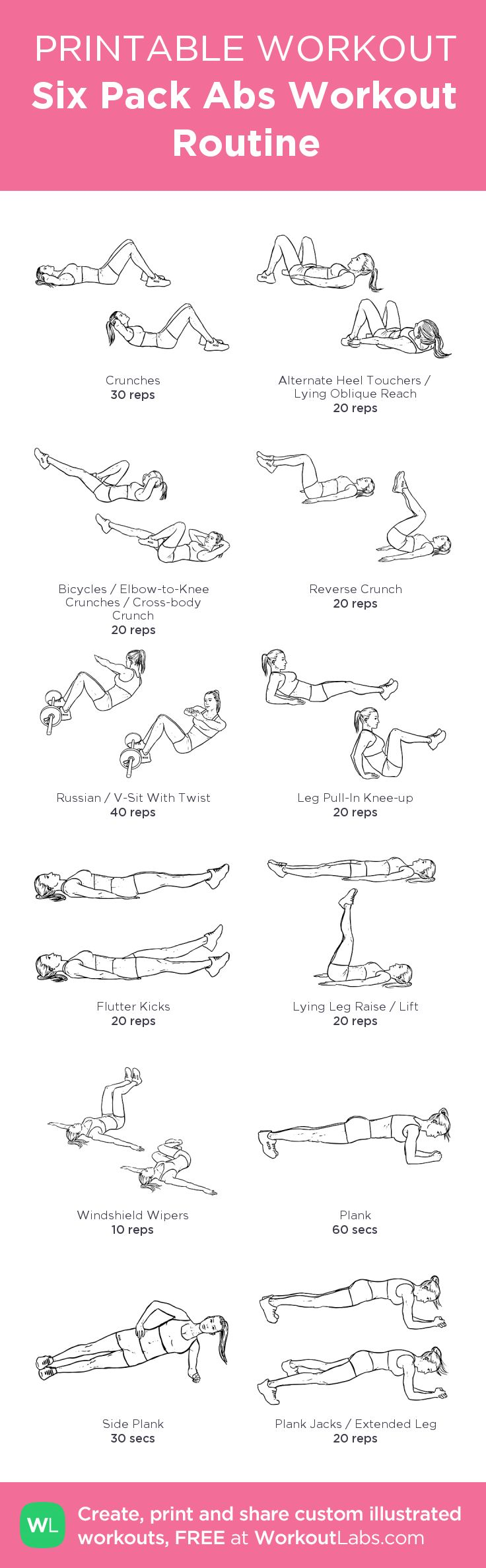 photograph regarding Printable Workout Routine known as Physical fitness Determination : 6 Pack Stomach muscles Work out Program my