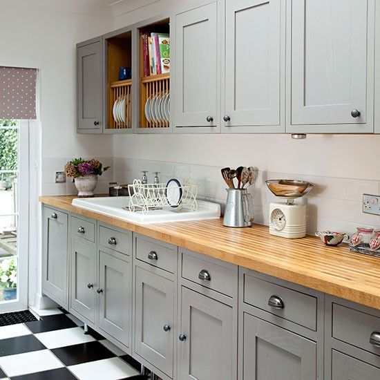 Home Decor Inspiration : Grey Shaker-style kitchen with ...