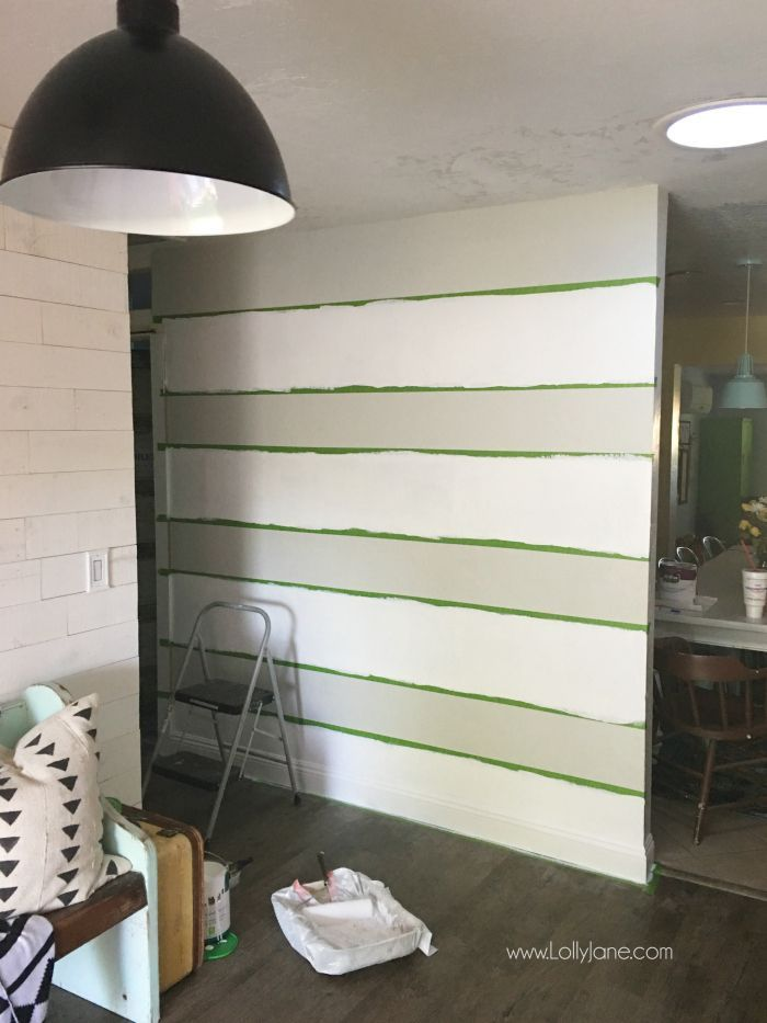 Best Decor Hacks Diy Striped Accent Wall With Gray